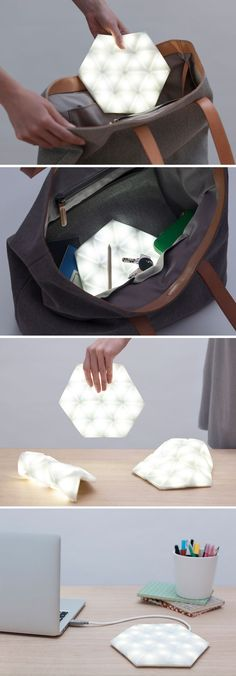 Kangaroo flexible glow lamp // designed to help you find things at the bottom of your bag