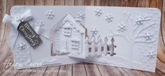 Helen Cryer using the Pop it Ups House Pivot Card, All Seasons Tree, Agatha Edges and Garden Bench dies by Karen Burniston for Elizabeth Craft Designs - The Dining Room Drawers: Elizabeth Craft Designs 'Elegant and White' Design Team April Challenge Card