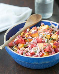 Peach, Tomato and Basil Summer Salad peach recip, summer food, summersalad, basil summer, drink, yum, summer salads, peaches, tomatoes