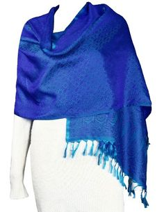 Long Blue Scarf Women Silk Fashion Accessory Paisley Dresses Indian: Amazon.co.uk: Clothing