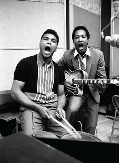 Soul man Sam Cooke, with stirrers Cassius Clay, New York City, March 1964.