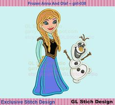 Etsy listing at https://www.etsy.com/listing/185495069/frozen-anna-embroidery-applique-olaf