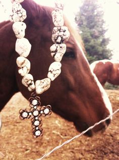 White Rock Necklace with Copper Rhinestone Cross <3 the model