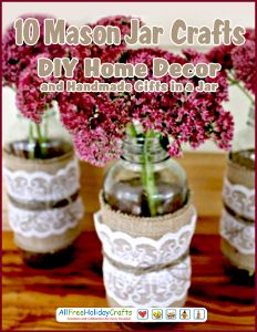 Whether a glass jar once held peaches or pickles, there are tons of ways to make it new again. 10 Mason Jar Crafts: DIY Home Decor and Handmade Gifts in a Jar shows you how to raid your recycling bin and turn glass jars into great gifts or decorative accents for your home.