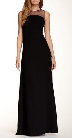Jill Jill Stuart Mesh Inset Sleeveless Gown