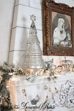 Christmas Mantel Decorations. White & Silver, Mercury Glass. The Decorated House