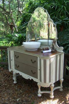 half baths, sink vaniti, chalk paint, anni sloan, nursery furniture, paint furnitur, annie sloan, stripe, vessel sink