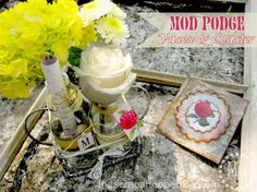 The Scrap Shoppe: Mod Podge Vases & Coaster