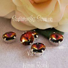 Volano Rivoli Sew On - Swarovski Crystal 12mm 1122 in a SP 4 hole Prong Setting - Wire Jewelry Supply - Component