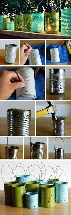 diy accessories, tin cans, tin can lanterns, candl, backyard, garden, parti, tea lights, outdoor projects