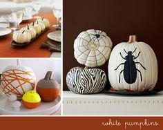 modern white pumpkins halloween decor #modern #fall #decor #pumpkins #white #halloween