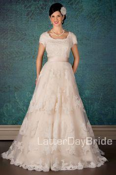 Modest Wedding Dress, Bellissimo   LatterDayBride & Prom. Modest Mormon LDS Temple Dress