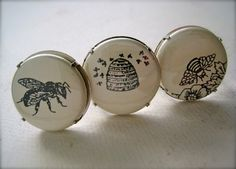 bees ring - flat button cab, apiary, beehive husbandry, inect, honey comb