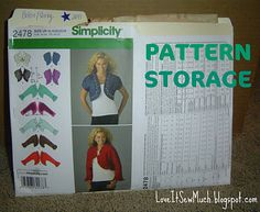Organize sewing patterns by cutting pattern envelope and stapling to a manilla file folder. Place pattern pieces and instructions in the file folder