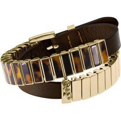Michael Kors Double-Wrap Bracelet, Tortoise ($195) ❤ liked on Polyvore