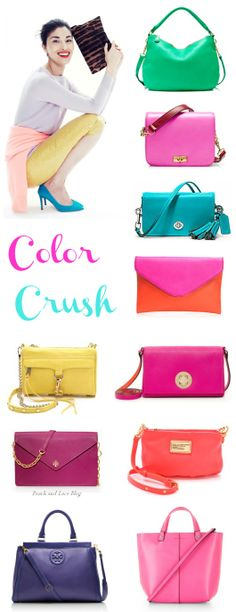 colorful bags and purses