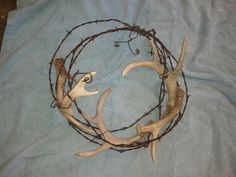 Deer shed and barb wire wreath