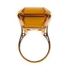 Emerald-Cut Citrine 14k Gold 1950s Vintage Cocktail Ring | Cleo Walker