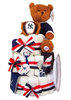 Official Yankees Baseball Diaper Cake (Over 70 Items) - Free Shipping