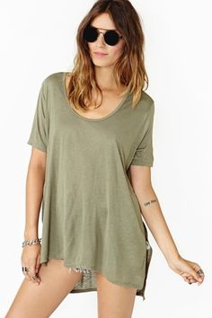 Let's Split Tee in Olive by #NastyGal