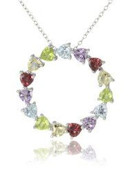 "Sterling Silver Multi-Gemstone Heart Circle Pendant Necklace, 18""  $42.00"
