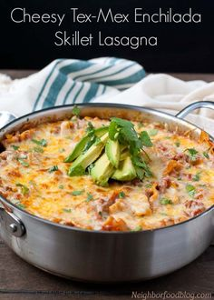 This Cheesy Tex-mex inspired lasagna is made in a single skillet!