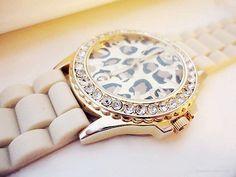White Leopard Print Watch