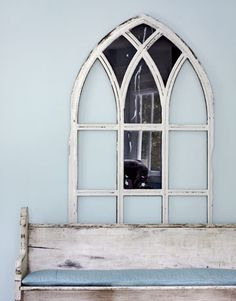 """I love the idea of framing out a """"window"""" behind our church pew."""