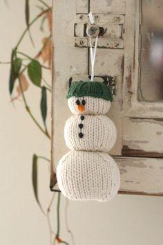 free snowman ornament knitting pattern-parsonbrown
