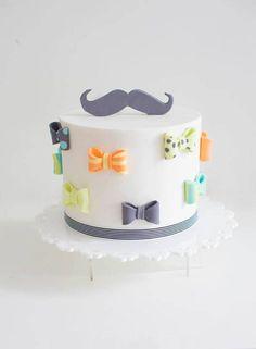 Mustache +Bowtie Cake