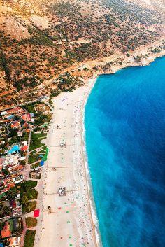 Aerial view over Oludeniz - a Turkish beach resort in the Mediterranean