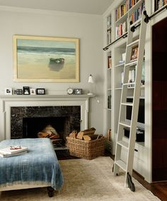 librari ladder, book, fireplace built ins