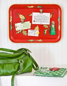 Trays from thrift stores make great magnetic boards for messages, appointments and lists!