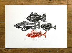 Red Herring Linocut print by Mangle Prints, via Flickr