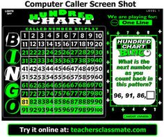 Hundred Chart Bingo - Practice addition, subtraction, skip counting, number patterns, and word problems for 2nd and 3rd grades. Use the computer bingo caller to draw question cards and display called answers on your interactive whiteboard while the rest of the class plays along with their own bingo cards. Get a class set of 30 for three fifty at TpT. number