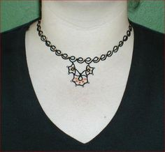 Tatted necklace, free pattern.