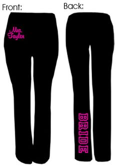 Wedding day yoga pants... Yes, please!