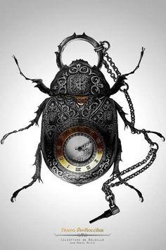 bugs, beetl, accessori, clock, steam punk art, pockets, pocket watches, insect, steampunk