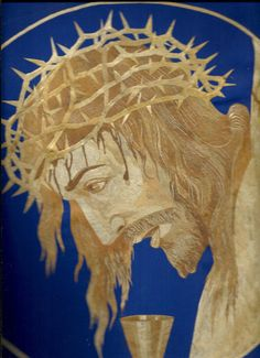Jesus Christ with Crown of thorns  Handmade with Leaves of rice plant.  Rice straw art is ancient form of leaf art practiced by less than 100 artists worldwide & Ray of Galveston, Texas is the only one from USA.  NO COLOR, PAINT OR DYE ADDED TO THE NATURAL COLOR OF RICE STRAW.  very unique ancient leaf art collectible by museumshop, $99.00. Start your collection TODAY.