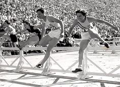 Babe Didrikson winning the hurdles in the 1932 Los Angeles Olympics
