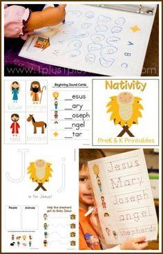 Christmas Nativity PreK and Kindergarten Printables {free}