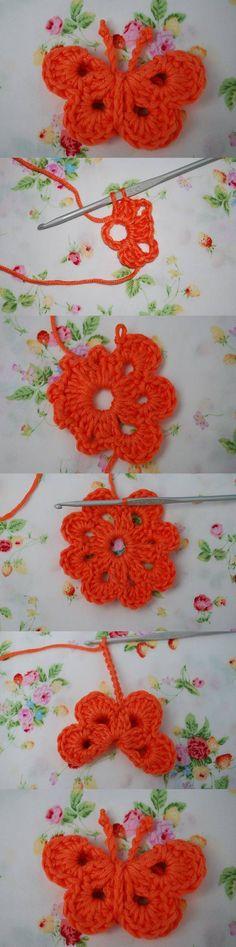 DIY Crochet Butterfly ♪ ♪ ... #inspiration #crochet #knit #diy GB http://www.pinterest.com/gigibrazil/boards/