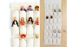 AT - 15 Clever ways to curb kids' clutter  over the door shoe hanger for Barbie doll storage