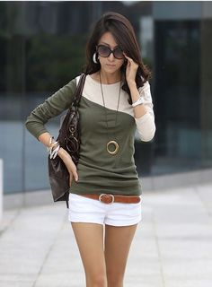 Fashion Women Lady Long Sleeve T-shirt Mixed Colors Splice Round Neck Tees Tops