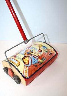 1950s Toy Metal Vacum / Vintage Wood Toy Sweeper JOHNNY and MARY