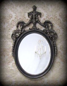 HOLLYWOOD REGENCY FURNITURE Black Mirror Decor by RevivedVintage, $189.00