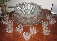 EAPG 1900 George Duncans Son & Miller Glass Button Panel w/ Bars Punch Bowl Set