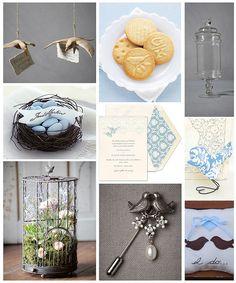 bluebird, wedding themes, weddings, bird nests, favor