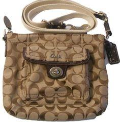 Coach Penelope Signature Turnlock Swingpack Messenger Crossbody Handbag 45026 Khaki Mahogany