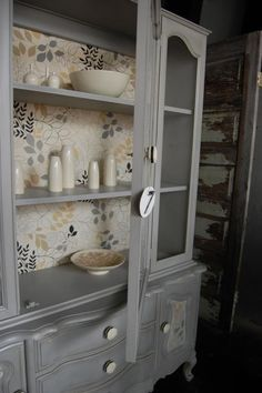 Painted hutch with transitional paper backing